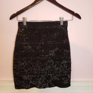 Forever 21 Black Shimmery Bodycon Mini Skirt